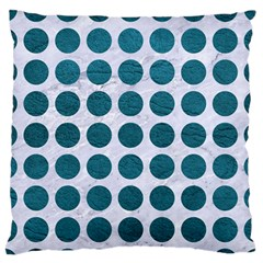 Circles1 White Marble & Teal Leather (r) Standard Flano Cushion Case (one Side) by trendistuff