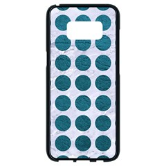 Circles1 White Marble & Teal Leather (r) Samsung Galaxy S8 Black Seamless Case by trendistuff