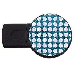 Circles1 White Marble & Teal Leather Usb Flash Drive Round (2 Gb) by trendistuff