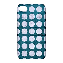 Circles1 White Marble & Teal Leather Apple Iphone 4/4s Hardshell Case With Stand by trendistuff