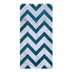 Chevron9 White Marble & Teal Leather (r) Shower Curtain 36  X 72  (stall)  by trendistuff