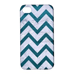 Chevron9 White Marble & Teal Leather (r) Apple Iphone 4/4s Hardshell Case With Stand by trendistuff