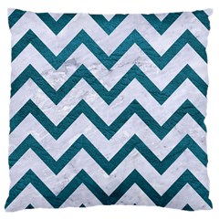 Chevron9 White Marble & Teal Leather (r) Standard Flano Cushion Case (one Side) by trendistuff