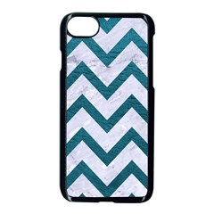 Chevron9 White Marble & Teal Leather (r) Apple Iphone 8 Seamless Case (black) by trendistuff