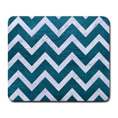 Chevron9 White Marble & Teal Leather Large Mousepads by trendistuff
