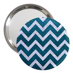 Chevron9 White Marble & Teal Leather 3  Handbag Mirrors by trendistuff