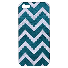 Chevron9 White Marble & Teal Leather Apple Iphone 5 Hardshell Case by trendistuff