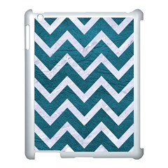 Chevron9 White Marble & Teal Leather Apple Ipad 3/4 Case (white) by trendistuff