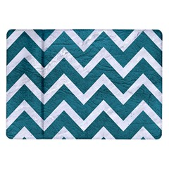 Chevron9 White Marble & Teal Leather Samsung Galaxy Tab 10 1  P7500 Flip Case by trendistuff