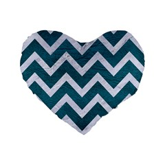 Chevron9 White Marble & Teal Leather Standard 16  Premium Flano Heart Shape Cushions by trendistuff