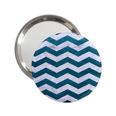 Chevron3 White Marble & Teal Leather 2 25  Handbag Mirrors by trendistuff