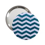 CHEVRON3 WHITE MARBLE & TEAL LEATHER 2.25  Handbag Mirrors Front