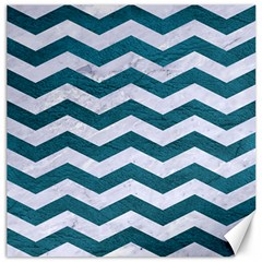 Chevron3 White Marble & Teal Leather Canvas 12  X 12   by trendistuff