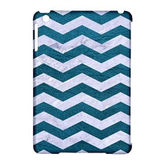 Chevron3 White Marble & Teal Leather Apple Ipad Mini Hardshell Case (compatible With Smart Cover) by trendistuff