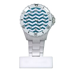 Chevron3 White Marble & Teal Leather Plastic Nurses Watch by trendistuff