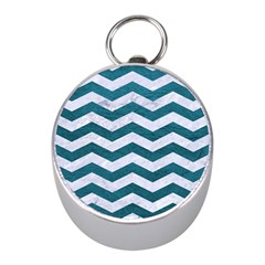 Chevron3 White Marble & Teal Leather Mini Silver Compasses by trendistuff