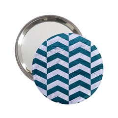 Chevron2 White Marble & Teal Leather 2 25  Handbag Mirrors by trendistuff