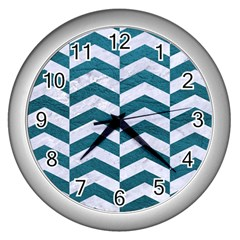 Chevron2 White Marble & Teal Leather Wall Clocks (silver)