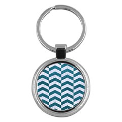 Chevron2 White Marble & Teal Leather Key Chains (round)  by trendistuff