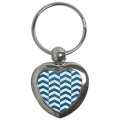 Chevron2 White Marble & Teal Leather Key Chains (heart)  by trendistuff