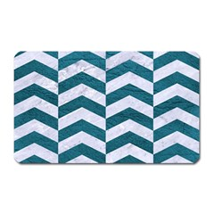Chevron2 White Marble & Teal Leather Magnet (rectangular) by trendistuff