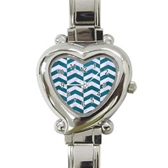 Chevron2 White Marble & Teal Leather Heart Italian Charm Watch by trendistuff