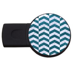 Chevron2 White Marble & Teal Leather Usb Flash Drive Round (4 Gb) by trendistuff