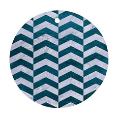 Chevron2 White Marble & Teal Leather Round Ornament (two Sides) by trendistuff