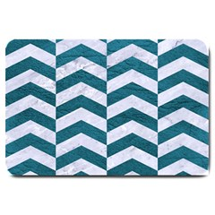 Chevron2 White Marble & Teal Leather Large Doormat  by trendistuff