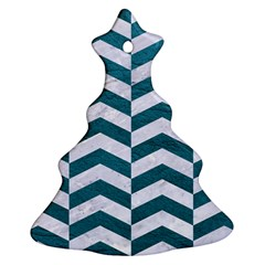 Chevron2 White Marble & Teal Leather Christmas Tree Ornament (two Sides) by trendistuff