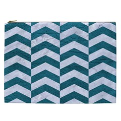 Chevron2 White Marble & Teal Leather Cosmetic Bag (xxl)  by trendistuff