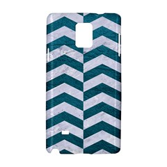 Chevron2 White Marble & Teal Leather Samsung Galaxy Note 4 Hardshell Case by trendistuff