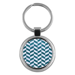 Chevron1 White Marble & Teal Leather Key Chains (round)  by trendistuff