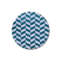 Chevron1 White Marble & Teal Leather Rubber Round Coaster (4 Pack)