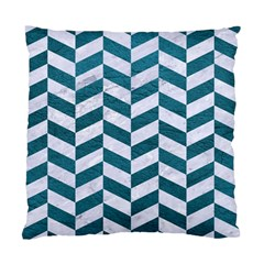 Chevron1 White Marble & Teal Leather Standard Cushion Case (one Side) by trendistuff