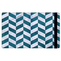 Chevron1 White Marble & Teal Leather Apple Ipad 2 Flip Case by trendistuff