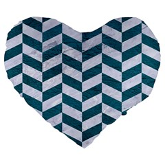 Chevron1 White Marble & Teal Leather Large 19  Premium Flano Heart Shape Cushions by trendistuff