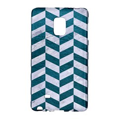 Chevron1 White Marble & Teal Leather Galaxy Note Edge by trendistuff