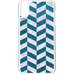 Chevron1 White Marble & Teal Leather Apple Iphone X Seamless Case (white) by trendistuff