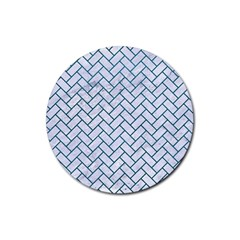 Brick2 White Marble & Teal Leather (r) Rubber Round Coaster (4 Pack)