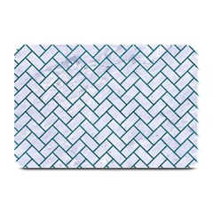 Brick2 White Marble & Teal Leather (r) Plate Mats by trendistuff