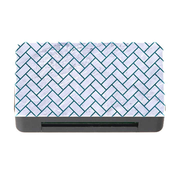 BRICK2 WHITE MARBLE & TEAL LEATHER (R) Memory Card Reader with CF