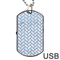 Brick2 White Marble & Teal Leather (r) Dog Tag Usb Flash (two Sides) by trendistuff