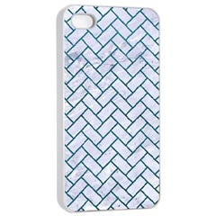 Brick2 White Marble & Teal Leather (r) Apple Iphone 4/4s Seamless Case (white) by trendistuff