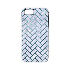 Brick2 White Marble & Teal Leather (r) Apple Iphone 5 Classic Hardshell Case (pc+silicone) by trendistuff