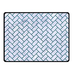 Brick2 White Marble & Teal Leather (r) Double Sided Fleece Blanket (small)  by trendistuff