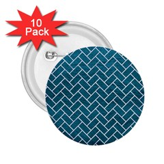Brick2 White Marble & Teal Leather 2 25  Buttons (10 Pack)