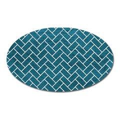 Brick2 White Marble & Teal Leather Oval Magnet by trendistuff