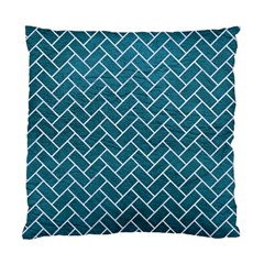 Brick2 White Marble & Teal Leather Standard Cushion Case (one Side) by trendistuff