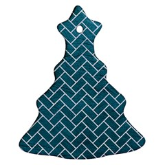 Brick2 White Marble & Teal Leather Christmas Tree Ornament (two Sides) by trendistuff